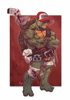 Awesome TMNT redesign by Alex Redfish Raph with a hockey stick and Yankee hat, Yes!