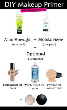 DIY Makeup Primers {3 Tbsp moisturizer or face lotion, 3 Tbsp aloe vera (preferably clear, but the green will work), 1-½ Tbsp foundation (that matches your skin tone), empty lotion bottle or crock (sterilized)}