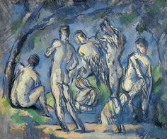 "Paul Cezanne ""Seven Bathers"" (1900) Oil on Canvas. Cezanne is known for his numerous works involving nude bathers, usually women. However ""Seven Bathers"" portrays male and some androgynous figures. Cezanne used this work to play with the idea of classical representation of the body and the relationship between the viewers' gaze and nakedness."