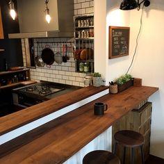 Kitchen/ナチュラル/カウンター/DIY/カフェ風/キッチンカウンター...などのインテリア実例 - 2017-02-24 12:37:08 | RoomClip (ルームクリップ) Bar Interior Design, Cafe Interior, Cafe Design, Interior Decorating, Cafeteria Decor, Cd Diy, Diy Kitchen Storage, Cozy House, Home Kitchens