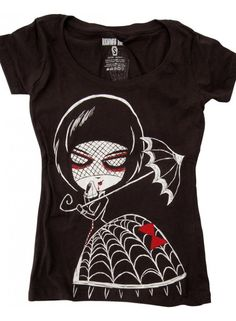 Black Widow | GIRLS T-SHIRT SCOOP - Womens T-shirt with black widow printDesigned in Montreal : Inspired by Japan100 cotton soft style t-shirtsDIMENSIONS :: [Inches]S - High Point Shoulder Length = 25.