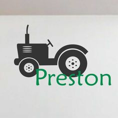 Tractor Silhouette Personalized Boy Name Vinyl Wall Lettering Farm Decal