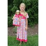Short Sleeve Hot Pink Peace Flower Nightgown Matching for Girl and American Girl or Bitty Baby Doll $39.00 www.weeline.com