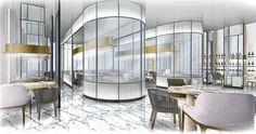 Interior Design Renderings, Interior Sketch, New York Architecture, Interior Architecture, Store Plan, Yabu Pushelberg, Lobby Interior, Big Houses, Rustic Interiors