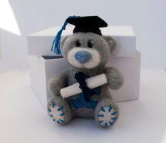 Needle felted bear brooch graduation bear by HelenDream on Etsy, $25.00