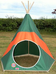 Classic green & orange polo stripe Children's Play Teepee / Tipi / Tent by: www.mohicantents.co.uk