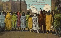 A Group Of Maskers on Canal Street During Carnival New Orleans Postcard, 1914