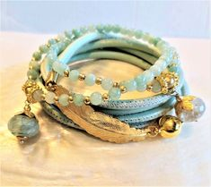 Leder- Perlenarmband - BALI - hellmint-golden Bali, Bracelets, Jewelry, Fashion, Ear Rings, Beads, Semi Precious Beads, Leather Cord, Moda