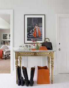An oldie from my inspiration file. But this area is so pretty with black, white, orange and little bit of gold = timeless!  http://splendidwillow.com/2012/09/04/black-rust/#
