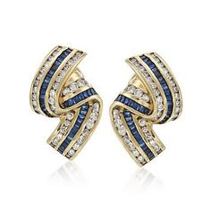 Vintage 1.50 ct. t.w. Sapphire and 2.00 ct. t.w. Diamond Earrings in 14kt Yellow Gold