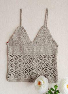 Mano algodón tiras de Crochet Top Tank Top por CraftsbySigita