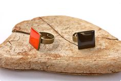 Coral or blue cube ring:  Handmade and hand coloured coral resin on adjustable antique brass ring