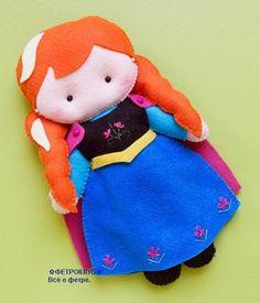 Bonecas princesas Anna e Elsa com molde