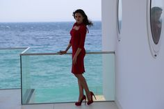 Behind the scenes of Vogue Photoshoot with Vera Filatova in Foros Yacht House by www.robinmonotti.com Vera's wearing Fuchsia Dress and Fuchsia shoes by Alexander Mc Queen and Ring by Lanvin
