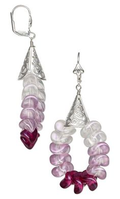 Earrings with Czech Pressed Glass Beads and Silver-Plated Brass Cones