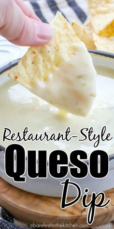 Best Queso Blanco Dip It's easier than you think to make restaurant style queso at home! Yummy Appetizers, Appetizer Recipes, Dip Recipes, Recipies, Mexican Dishes, Mexican Food Recipes, Mexican Desserts, Great Recipes, Favorite Recipes