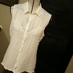 Kendall & Kylie sheer top Darling sheer button down top with opening in the back, detailed material in the front see second picture. 7 buttons down the front none that are missing, no snags or stains. Kendall & Kylie Tops Blouses