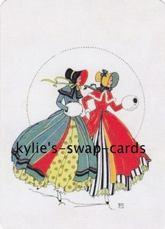 SD55 LOVELY LADY swap playing cards MINT COND stylish art deco style in gowns