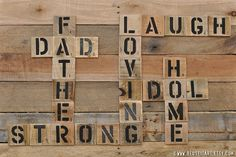 Print or Canvas Father's Day Pallet Art Word Collage by ReUseItArt, $25.00