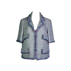 Chanel 2014 S/S Silver Grey and Pink Fantasy Tweed Jacket FR38 | From a collection of rare vintage jackets at https://www.1stdibs.com/fashion/clothing/jackets/