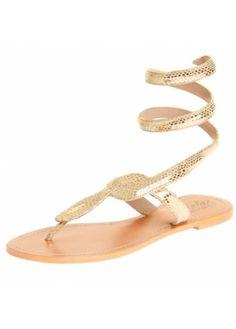 cc76e89754daa8 Aspiga Cobra Gold Snakeskin Ankle Wrap Toe Post Flat Sandal Beaded Sandals