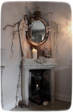 Shabby Chic Homes, Shabby Chic Decor, Shabby Chic Fireplace, Fireplace Mantle, Meas Vintage, Sculpture Textile, Dark Christmas, Goth Home Decor, Witch Decor