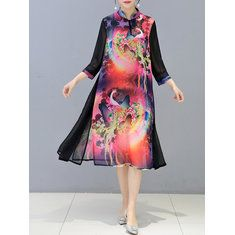 Hot-sale O-NEWE Ethnic Vintage Printed Patchwork Long Sleeve Maxi Dress For Women - NewChic Mobile