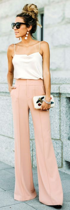 #summer #outfits  White Tank + Blush Wide Pants