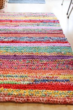 Pretty crocheted rag rug!