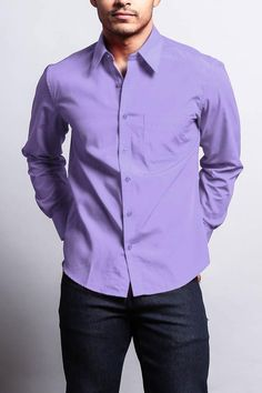 Men's Basic Solid Color Button Up Dress Shirt (Coral) Blue Shirt Outfit Men, Red Shirt Outfits, Purple Dress Shirt, Red Button Up Shirt, Button Up Dress, Lavender Shirt, Turquoise Shirt, Sunday Outfits, Casual Wear For Men