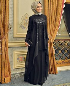 decor, design, and hijab tutorial image Abaya Fashion, Modest Fashion, Fashion Dresses, Muslim Women Fashion, Islamic Fashion, Hijab Dress Party, Hijab Outfit, Modest Dresses, Modest Outfits
