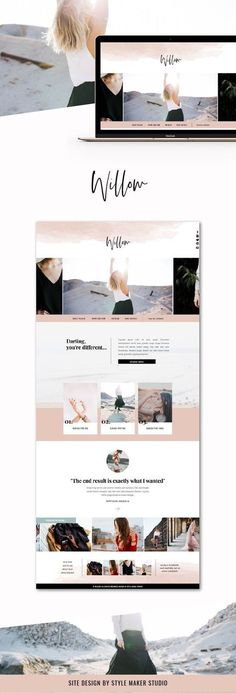 Fashion Website Template for Showit Platform - Wordpress Portfolio Theme - Ideas of Wordpress Portfolio Theme - Willow Web Design, Logo Design, Media Design, Portfolio Website Design, Website Design Layout, Minimal Website Design, Design Layouts, Portfolio Layout, Website Design Inspiration