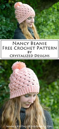 Nancy Beanie Free Crochet Pattern by Crystalized Designs ~ Designed in honor of my mother as part of the Beanie represents uterine cancer. Beanie Pattern Free, Crochet Beanie Pattern, Crochet Gratis, Knit Crochet, Crocheted Hats, Crochet Turban, Tapestry Crochet, Crochet Baby, Crochet Pikachu