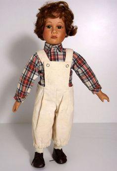 Puppe Porzellankopfpuppe Latzhose Hemd Schuhe SCHROTT Sammler Junge Alt • EUR…