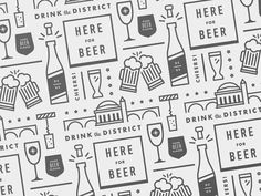 Polishing up the final brand guide and supporting assets for Drink the District and its lineup of events for the next year Shape Patterns, Textures Patterns, Print Patterns, Pattern Illustration, Graphic Illustration, Digital Illustration, Custom Icons, Pictogram, Social Media Graphics