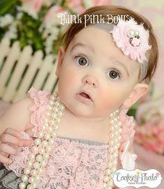 Baby Headband  Pink and Grey Headband Shabby Chic by ThinkPinkBows, $6.95