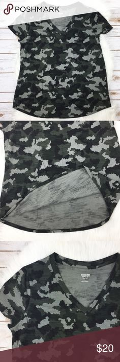 """Camo V-neck Tshirt Camo v-neck tshirt. Short sleeves. Has stretch. 60% Cotton / 40% Polyester. Measurements on one side when laid flat: Length 26.5"""" from top of shoulder to hem. Underarm to underarm 20"""". Hem 22"""". In excellent condition. Mossimo Supply Co. Tops Tees - Short Sleeve"""