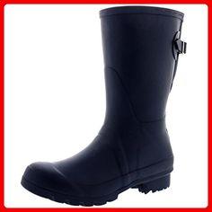 Damen Stiefel Gummistiefel Lack Boots Stiefeletten Glanz ST15 Outdoor (36, Schwarz)
