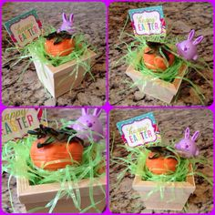 Carrot (candy covered Strawberry) in tiny wooden square pot :)