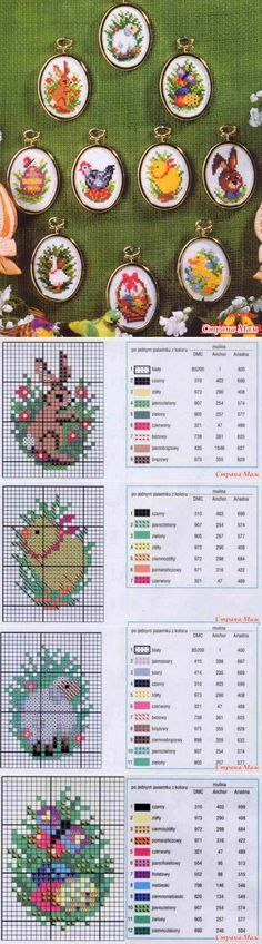 Collection of easter schemes - Biskornya and others 'кривульки' - Country of Mothers Mini Cross Stitch, Beaded Cross Stitch, Cross Stitch Animals, Counted Cross Stitch Patterns, Cross Stitch Designs, Cross Stitch Embroidery, Embroidery Patterns, Minis, Little Stitch