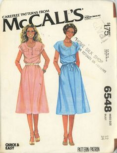 McCalls 6548 pullover Henley dress bust 34 Size 12 UNCUT Quick and Easy - Sewing Patterns