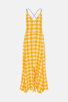 Textured Check Button Detail Strappy Maxi | Karen Millen Dress Collection, Fashion Face, Karen Millen, I Am Rich, Buttons, Texture, Summer Dresses, Detail
