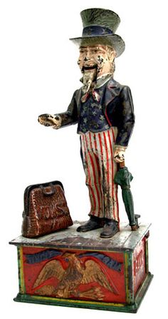 Circa 1886: Shepard Hardware's Uncle Sam mechanical bank, My Dad had this.