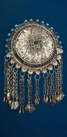 Afghanistan | Dress ornament ~ Gardez ~ silver || American Museum of Natural History, New York