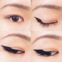 私的椎名林檎風メイク考察~百鬼夜行編~ 1.小鼻と眉尻、目頭と目尻、それぞれの延長線で交差する所に点を打ちます。正面を向いて目を開いたまま、黒目の中心とさっき打った点を繋ぐ。線を引く時も目を開いたま - d.kor.k