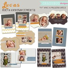 Lucas Birth Announcement Collection BOY by gradybugdesigns on Etsy
