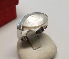 Vintage Ringe - 18,1 mm Designer Ring Silber 925 Perlmutt SR557 - ein Designerstück von Atelier-Regina bei DaWanda