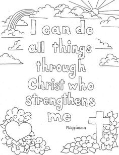 Coloring Pages for Kids by Mr. Adron: Philippians 4:13 Print And Color Page