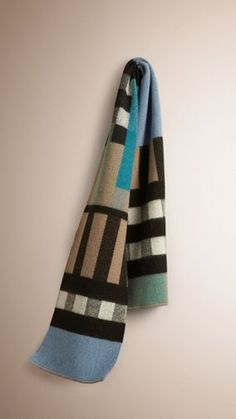 Patchwork Check Wool Cashmere Blanket Scarf