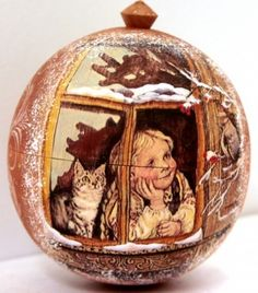 Russian wood Christmas ornament Girl with cat by Viktoriyasshop